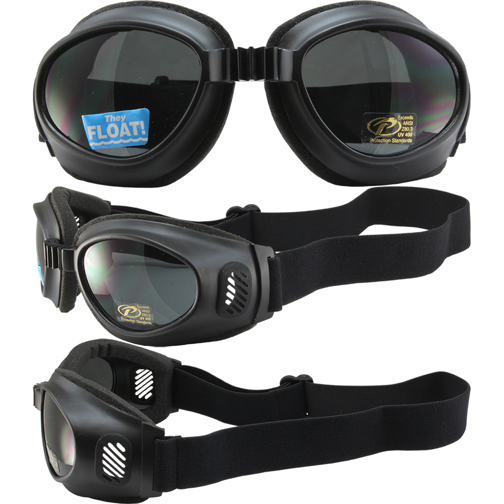 Tour Wide Coverage Black Motorcycle Goggles with Dark Smoked Lens