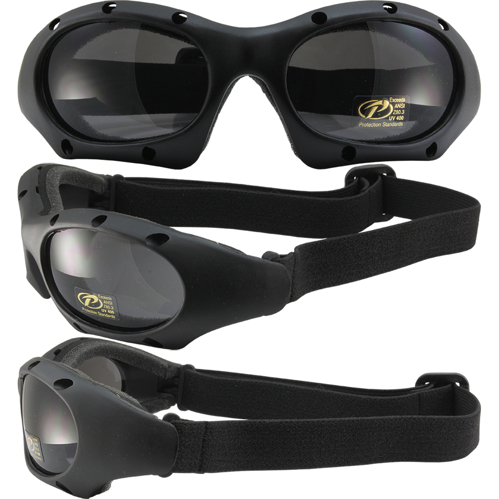 Dominator Black Sports Motorcycle Goggles With Polycarbonate Smoke Lens