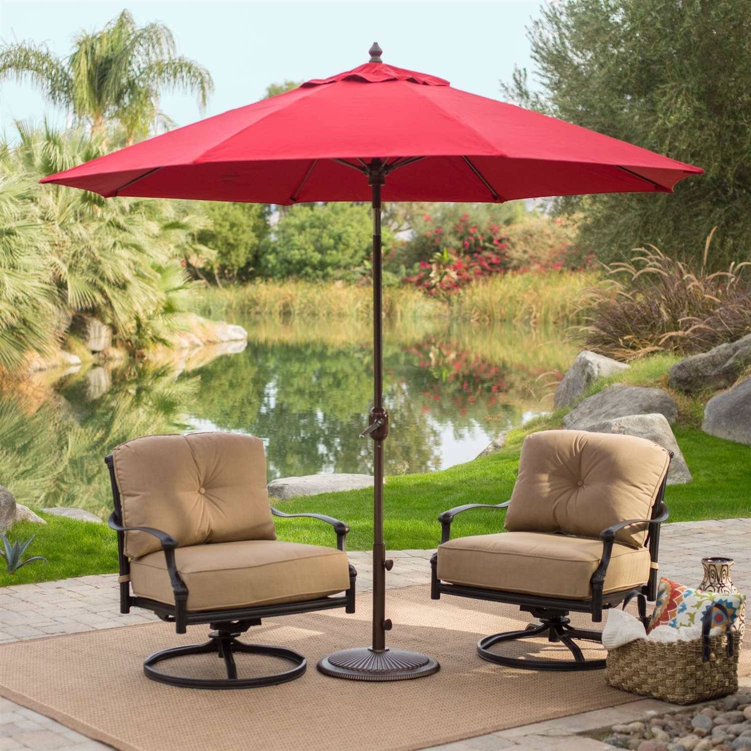 Sunbrella 9-Ft Patio Umbrella with Deluxe Tilt in Antique Bronze with Red Shade