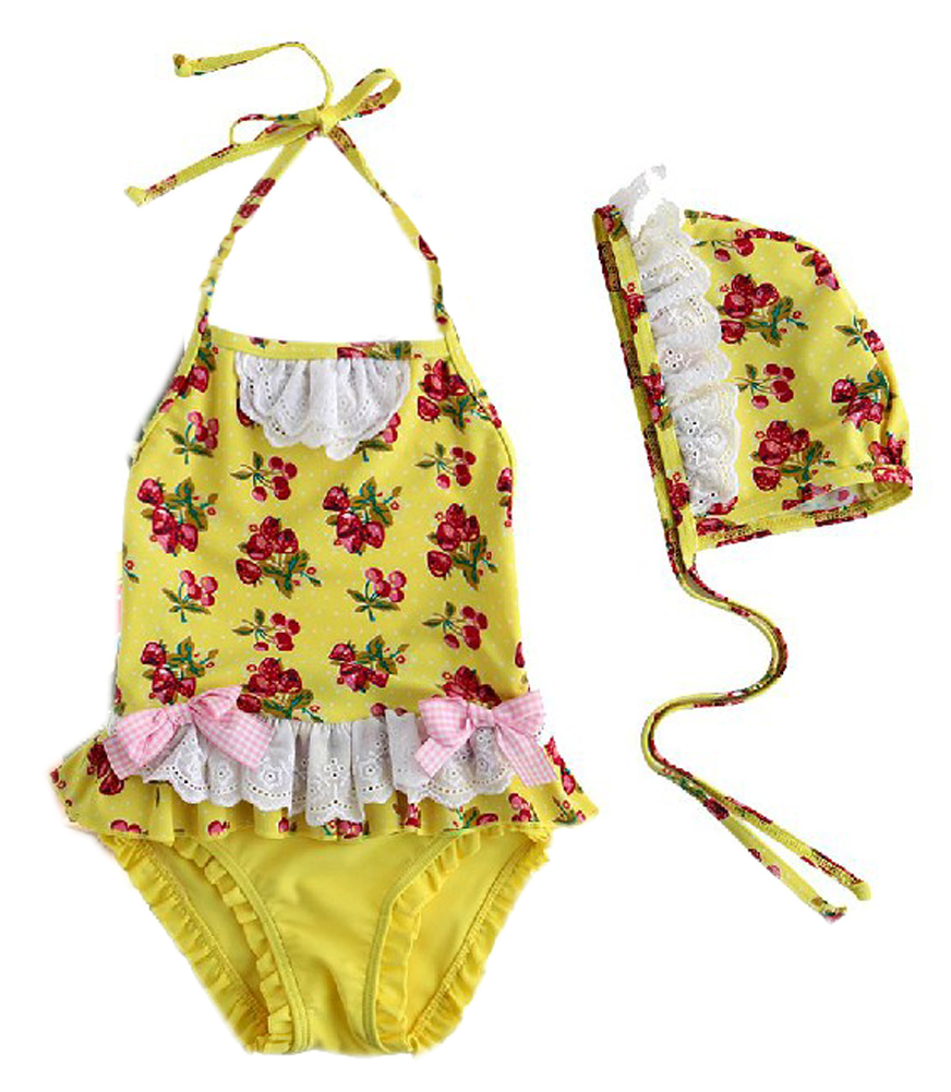 Cherry Yellow Girl One Piece Swimsuit Bathing Suit One Piece Tank, 7T