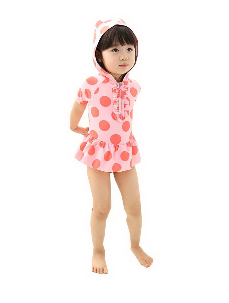 Cute Girl Swimwear Dotted One Piece with Hoodie, pink, 4-5 Years old, 6T