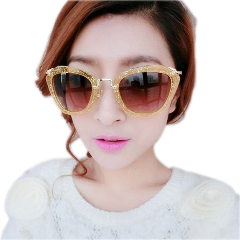 Golden Bling Frame Brown Lens Eyewear Fashion Sun Protection Sunglasses