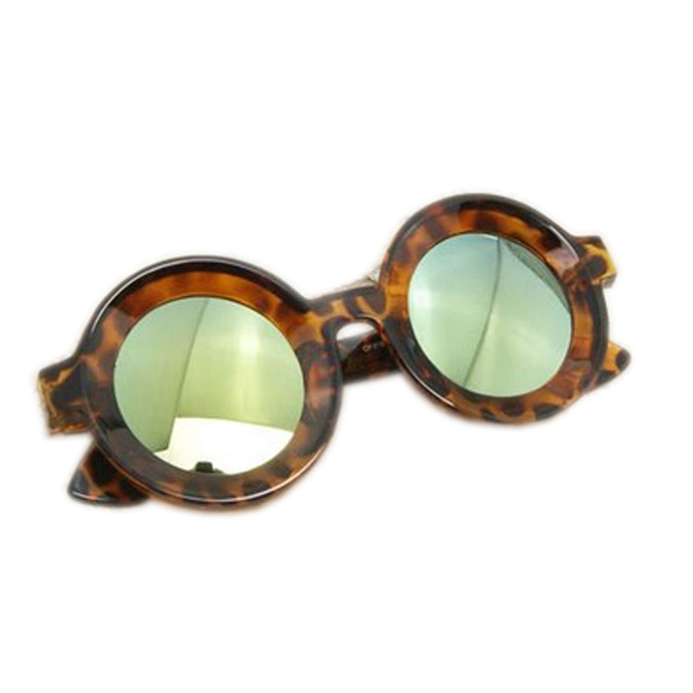 Sunlight Protection Fashion Leopard-print Round Frame Blue Mirror Lens Eyewear